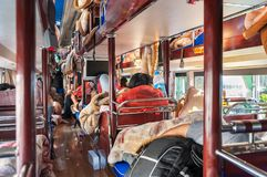 Onboard a Chinese intercity sleeper bus. CHINA - JULY 31, 2013 - Onboard a Chinese intercity sleeper bus stock images