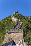 China, Juyongguan. Tourists climb the Great Wall of China Royalty Free Stock Photos