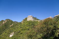 China, Juyongguan. View of the Great Wall with watchtowers in the mountains Royalty Free Stock Photo