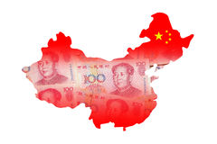 China-Karte gebildet durch chinesisches Bargeld des Geldes (Yuan) Stockfotos