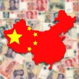 China-Kartenmarkierungsfahne auf unscharfem Yuan Stockfotografie