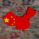 China-Kartenmarkierungsfahne mit Yuan Stockfoto