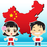 China kids. China boy, girl,map and national flag stock illustration