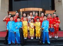 China: Kinder und Lehrer aufgeworfen für Abbildungen Lizenzfreies Stockbild