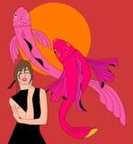 China lady and fish royalty free stock image