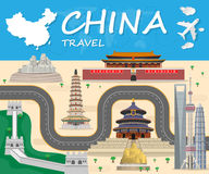 China Landmark Global Travel And Journey Infographic background. Vector Design Template.used for your advertisement, book, banner, template, travel business or Stock Image