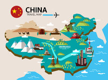 China landmark and travel map. Stock Photos