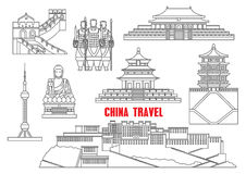 China landmarks thin line icons Royalty Free Stock Photos