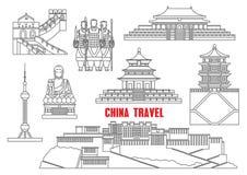 China landmarks thin line icons Royalty Free Stock Photos