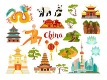 China landmarks vector icons collection. Chinese travel attraction. China landmarks: Shanghai cityscape, Temple and dragon. Shaolin monk, pandas and rice stock illustration