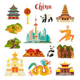 China landmarks vector icons set. Illustrated Shanghai cityscape Temple, chinese dragon, panda and Buddha, Shaolin and tea,isolated on white background vector illustration