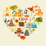 China landmarks vector icons set. Illustrated travel collection. Chinese travel attraction, isolated on white background. Heart silhouette, travel design stock illustration