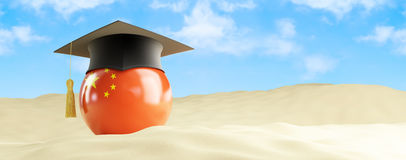China language on holiday, graduation cap at the beach. 3d Illustrations Royalty Free Stock Images