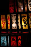 China lanterns. Many colorfully china lanterns are lighten bright in the darkness Royalty Free Stock Photos