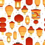 China lanterns pattern. Asian traditional new year colored paper symbols chinese dragon vector seamless illustration. Oriental festival lamp, prosperity asian stock illustration