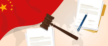 China law constitution legal judgment justice legislation trial concept using flag gavel paper and pen. Vector royalty free illustration