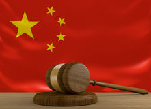 China law and justice system with national flag Stock Images