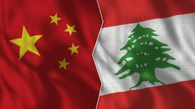 China and Lebanon Half Flags Together royalty free illustration