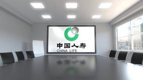 China Life firmy ubezpieczeniowej logo na ekranie w pokoju konferencyjnym Redakcyjny 3D rendering Zdjęcia Stock