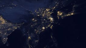 China lights from space zoom. China, officially the People's Republic of China, is a sovereign state located in East Asia. It is the world's most populous vector illustration