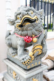 China lion with glass bead statue Royalty Free Stock Images