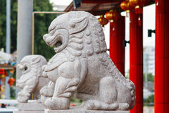 China lion sculpture at the shrine Stock Photo