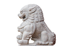 China lion sculpture at the shrine on white background Royalty Free Stock Image