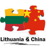 China and Lithuania flags in puzzle. Isolated on white background, 3D rendering Stock Photography