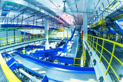 China Logistics Automatic Sorting System. In China, large-scale logistics sorting center line interior royalty free stock photography