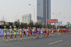 China the London 2012 Olympic Games held in jiangs. 11 February 2012, huaian China's jiangsu province, the national race championship and London Olympic trials Royalty Free Stock Photos