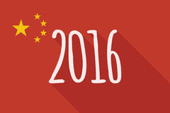 China long shadow flag with a 2016 sign. Illustration of a China long shadow flag with a 2016 sign Stock Image