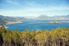 China, Lugu Lake panorama Royalty Free Stock Photography
