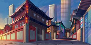 China Luoyang Street Realistic Country City Area Painting Series. Video Game`s Digital CG Artwork, Concept Illustration, Realistic Cartoon Style Scene Design stock illustration