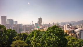 Macau famous hotel sunny day rooftop scape panorama 4k time lapse china. China macau famous hotel sunny day rooftop cityscape panorama 4k time lapse stock footage