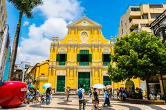 China, Macau - September 6 2018- Beautiful old architecture building with st dominics church in macau city stock image