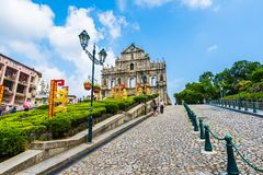 China, Macau - September 6 2018 - Beautiful old architecture building with ruin of st pual church landmark of macau city with blue. Sky background royalty free stock photo