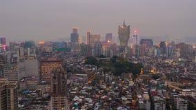 China magnífica del lapso de tiempo del panorama 4k del tejado del hotel del centro de Macao Lisboa de la puesta del sol almacen de video
