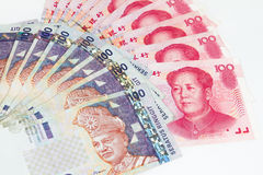 China and Malaysia Bills in White Background Stock Photos