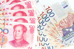China and Malaysia Bills in White Background Royalty Free Stock Image