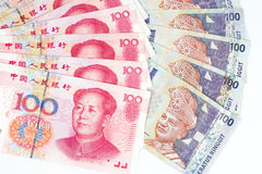China and Malaysia Bills in White Background Royalty Free Stock Images