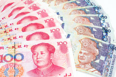 China and Malaysia Bills in White Background Stock Images