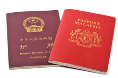 China and Malaysia passport Stock Image