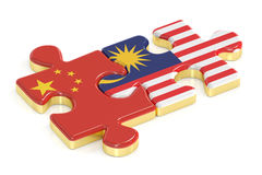China and Malaysia puzzles from flags, 3D rendering Royalty Free Stock Photos