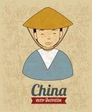 China man. Over rustic background vector illustration vector illustration