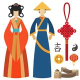 China man and woman east culture chinese traditional symbols vector illustration.  Stock Photos