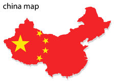 China map. Illustration of China map with flag stock illustration