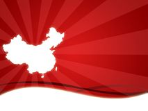 China map. Wallpaper background for china olympic games with red stripes Stock Images