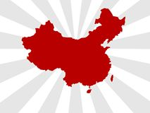 China map. Wallpaper background for china olympic games with red stripes Royalty Free Stock Photography