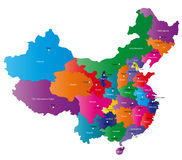 China map. People's Republic of China map designed in illustration with regions colored in bright colors. Vector illustration