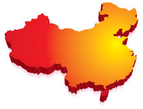 China Map. Red yellow 3D map of China vector illustration